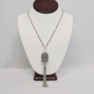 Lucky Brand Silver Tone Pearl Cage Tassle Necklace